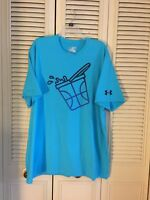 Men`s Under Armour Heat Gear Loose Blue Shirt Size 2XL