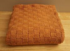 BERRETTI ITALIAN WOOL BLEND YARN THROW MADE IN ITALY LIGHT ORANGE BLANKET THROW