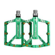 BIKEIN MTB Bike Pedals CNC Aluminum Flat Platform Fixed Gear Ultralight (Green)