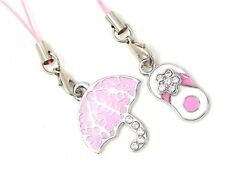 #5574 - PINK SHOE & UMBRELLA TABLET CELL PHONE DUST PLUG OR PURSE  SHOE CHARMS