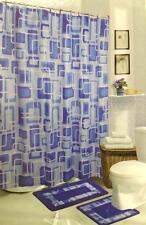 Blue Squares 15-Piece Bathroom Set Geometric Bath Rugs Shower Curtain & Rings