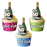 60th Birthday Champagne Bottles - Precut Edible Cupcake Toppers Cake Decorations