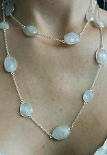 80cts Moonstone oval by yard faceted 925 solid silver long 36 inches link bezel