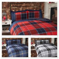 Rapport Argyle Tartan Reversible Stripe striped Duvet Cover Bedding Set 3 Colour