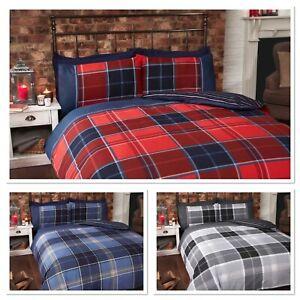 Rapport Argyle Tartan Reversible Stripe striped Duvet Cover Bedding Set 3 Colour