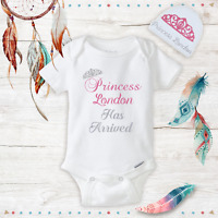 Personalized Princess Baby Girl Clothes Onesie, Hat Baby Shower Gift Set