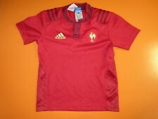 Maillot rugby QUINZE DE FRANCE rouge ADIDAS FFR shirt enfant 7 8 ans