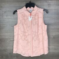Elle Women's Size Small Sleeveless Button Down Shirt Top Coral Peach NEW