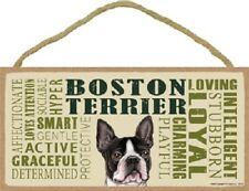 Boston Terrier Subway Style Dog Sign wood Wall Hanging Plaque puppy Usa Made