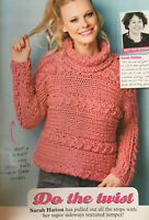 KNITTING PATTERN Ladies Chunky Sideways Jumper Cable + Textured Sweater Sublime