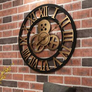 Wanduhr Retro Uhr 40cm Antik Moderne Zuhause Quarzuhr Dekoration Vintage Zahnrad