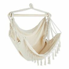 Natural Hammock Chair With Fringe Trim