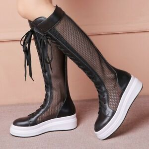 Stylish Summer Women's Round Toe Wedge Heel Mesh Breathable Mid Calf Tall Boots