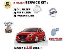 para MAZDA 3 BM 1.5 p5y1 2013> NUEVO Aire Aceite Pollen 3 kit servicio de filtro