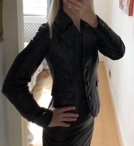 Joseph Classic Black  Leather Jacket In Size 8UK