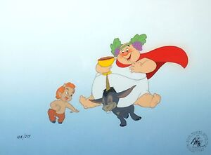 Original Walt Disney Fantasia Limited Edition Cel Bacchus, Donkey, and Faun