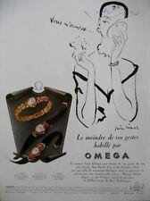 PUBLICITE DE PRESSE OMEGA MONTRE FEMME ILLUSTRATEUR PIERRE SIMON FRENCH AD 1951
