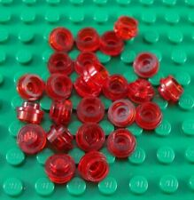 LEGO Lot of 25 Translucent Red 1x1 Round Plates