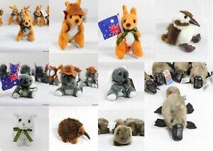 6 x Australian Souvenir Soft Toy Animals Koala Kangaroo Platypus Wombat 10-15cm