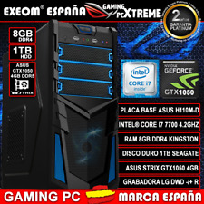 Ordenador Gaming PC Intel i7 7700 8GB 1TB HDD ASUS Strix Gtx1050 4GB sobremesa