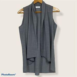 Brunello Cucinelli Cashmere Virgin Wool Vest Grey Women Size XS Open Front Drape