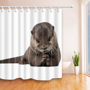 Otter with White Background Bathroom Shower Curtain Fabric w/12 Hooks 71*71inch