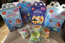 1989 Vintage McDonald's 4 Happy Meal The Little Mermaid Toys Set 3 boxes Disney