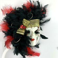 Vtg Mardi Gras Clay Theater Mask Wall Decor Black red Feathers Gold Headband