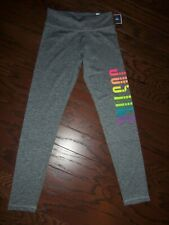 NWT JUSTICE GRAY RAINBOW LOGO POLYESTER STRETCH LEGGINGS: SIZE 12