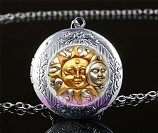 SUN AND MOON Cabochon Glass Tibet Silver Locket Pendant Necklace#A19