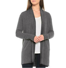 NWT $129 Nicole Miller Grey 100% CASHMERE Shawl Open Cardigan Duster S gray