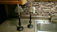 Vintage Set 2 Wood Candle Holder Glass Shade Brass Sleeve Pair Ornate Antique