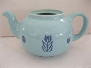 Vintage 1903-1970 Blue Tulip Cronin Pottery Teapot Coffee Pot cover is missing