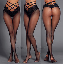 Black Strappy High Waist Lace Mesh Pantyhose Tights  High Waist Look One Size