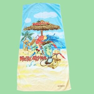 Vintage Margaritaville Beach towel Wastin' Away Again Parrot Blender Drinks