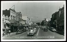 Vintage 1950's Market Street Redding Neon Signs Cars California RPPC Postcard