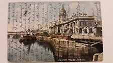 Custom House Dublin Steamboat 1906 Postcard One Penny postage and Revenue Irelan