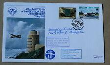 Islas del Canal 40TH aniversario de Liberartion 1985 Cubierta firmado LT Cdr D Williams