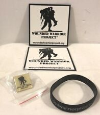 Set of 4 WOUNDED WARRIOR PROJECT metal pin, black rubber bracelet, magnet, decal