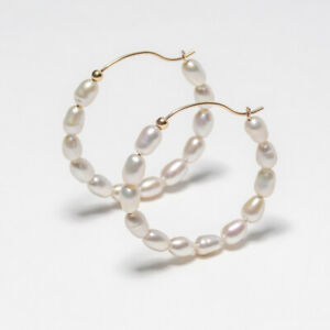 """Handmade!Unique White Pearl Earrings 14K Yellow Gold Filled,Pearl Hoop,1.4"""""""