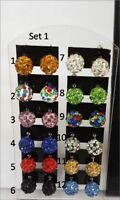 8mm - 10mm Crystal Shamballa Disco Ball Stud Earrings * UK SELLER *