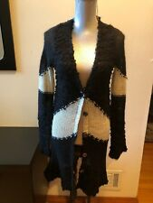NEW FREE PEOPLE BLACK WHITE KNITTED COAT CARDIGAN SIZE S