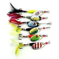 Lote 6 piezas Cuchara Metal Anzuelos De Pesca Juego Spinner Cebos Señuelo Bass