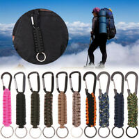 Outdoor Camping Kit Paracord Cord Keychain Military Emergency Rope Carabiner