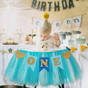 Boy Girl First 1st ONE High Chair Banner Bunting Garland Birthday Party Decor