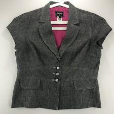 Sweet Suit Womens Vintage Size 16 Jacket Blazer Short Sleeves Heather Gray 80's