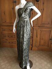 Oscar de la Renta Sumptuous Golden One Shoulder Evening Dress