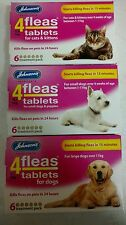Johnsons 4Fleas Tablets Cat Dog Puppy 3&6 Pack Starts Killing Fleas in 15Mins