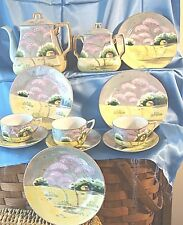 VINTAGE Tea Set LUSTERWARE JAPAN HAND PAINT POT SUGAR BOWL CUPS  SAUCERS PLATES