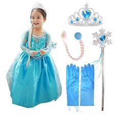 Karneval Cosplay Kostüm Mädchen Kinder Frozen Elsa Eiskönigin Kleid Tüll Party